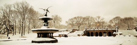 angels fountain: Central Park winter panorama view in midtown Manhattan New York City