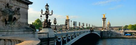 Alexandre III bridge and River Seine panorama in Paris, France.
