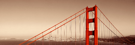 white red: Golden Gate Bridge closeup panorama in San Francisco as the famous landmark.