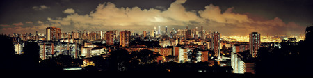 night dusk: Singapore skyline viewed from mt faber at night with urban buildings