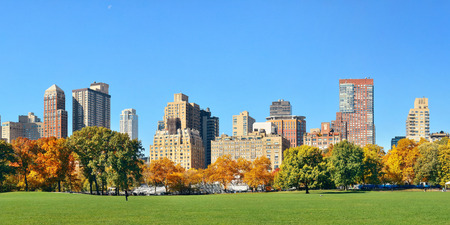 Skyline di Manhattan Midtown visto dal parco centrale in autunno a New York City.