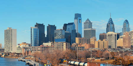 railway transportation: Philadelphia skyline with urban architecture.