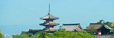 history architecture: Jishu Jinja Shrine panorama in Kyoto, Japan. Editorial