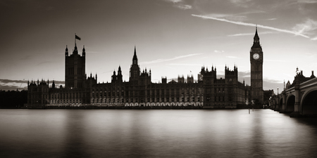 Big Ben and House of Parliament in London at dusk panorama. Reklamní fotografie