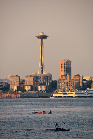in wa: SEATTLE, WA - AUG 14: Space Needle with canoe on August 14, 2015 in Seattle. Seattle is the largest city in both the State of Washington and the Pacific Northwest region of North America Editorial