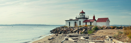 in wa: West point lighthouse in Seattle, WA. Stock Photo