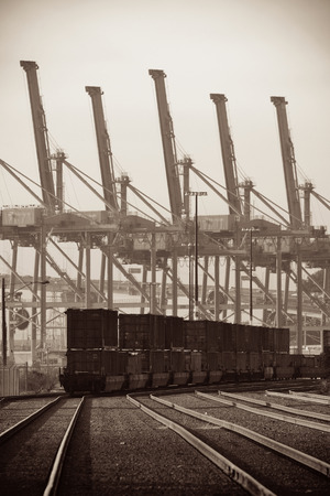 in wa: SEATTLE, WA - AUG 14: Crane Tower and cargo train at sea port on August 14, 2015 in Seattle. Seattle is the largest city in the State of Washington and the Pacific Northwest region of North America