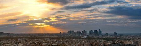 la defense: Paris city skyline rooftop view with la Defense at sunset, France.