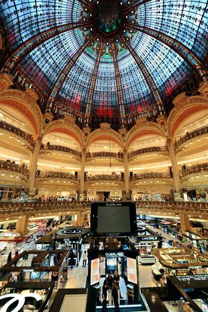 lafayette: PARIS, FRANCE - MAY 13: Galeries Lafayette interior view on May 13, 2015 Designed by architect Georges Chedanne and as the famous department store, it recorded earnings of over 1 billion euro in 2009