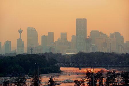 calgary: Calgary skyline silhouette in Alberta, Canada. Stock Photo