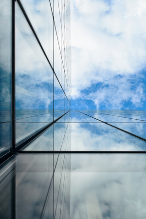 architecture abstract: Glass reflection of skyscraper in Paris. Stock Photo