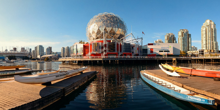 ethnically diverse: VANCOUVER, BC - AUG 17: Science World at waterfront of False Creek on August 17, 2015 in Vancouver, Canada. With 603k population, it is one of the most ethnically diverse cities in Canada.