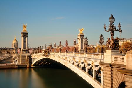 napoleon iii: Alexandre III bridge and Napoleon tomb in Paris, France. Stock Photo