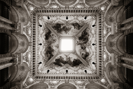 garnier: PARIS, FRANCE - MAY 13: Palais Garnier delicate ceiling view on May 13, 2015 in Paris. With the population of 2M, Paris is the capital and most-populous city of France Editorial