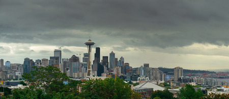 seattle skyline: Space Needle and Seattle downtown skyline panorama from Kerry Park. Stock Photo