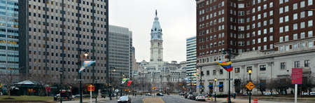 history architecture: PHILADELPHIA, PENNSYLVANIA - MAR 26: City street view with urban buildings on March 26, 2015 in Philadelphia. It is the largest city in Pennsylvania and the fifth in the United States.