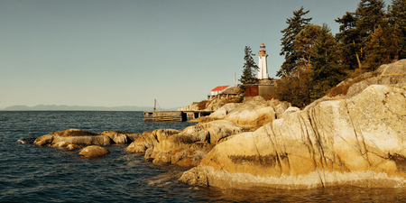 waterfront: Point Atkinson Light House in Vancouver, Canada. Stock Photo
