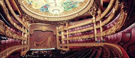 garnier: PARIS, FRANCE - MAY 13: Palais Garnier interior view on May 13, 2015 in Paris. With the population of 2M, Paris is the capital and most-populous city of France
