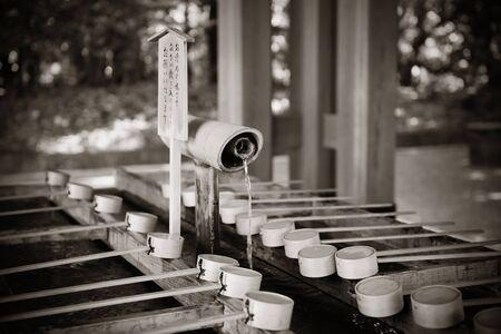 handwashing: Hand-washing pool in Shrine, Tokyo.