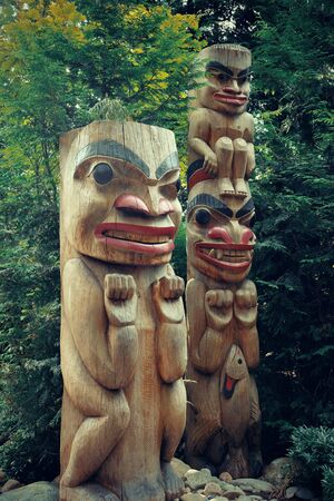 the totem pole: Totem Pole in Capilano park, Vancouver, Canada.