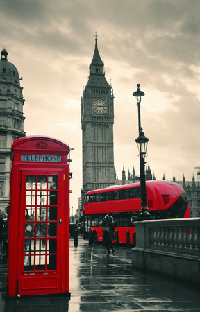 telephone box: Red telephone box and Big Ben in Westminster in London.
