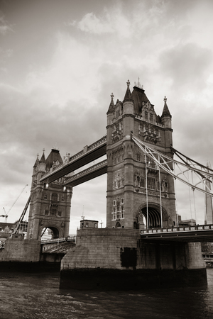 english famous: Tower Bridge over Thames River in London