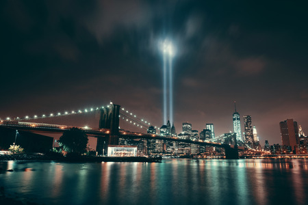 tribute: New York City downtown Brooklyn Bridge and september 11 tribute at night