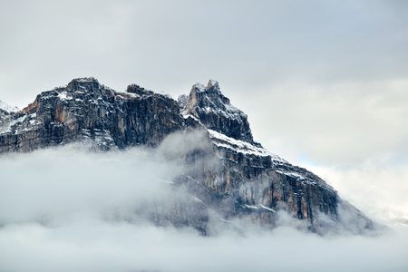 cloud capped: Foggy mountain and cloud in Banff National Park, Canada Stock Photo