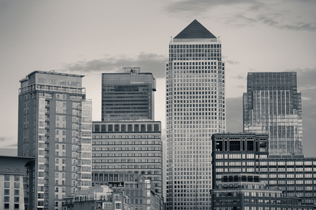 canary wharf: Canary Wharf business district in London black and white.