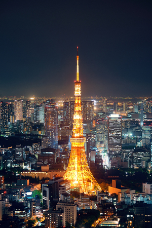 tokyo tower: Tokyo Tower and urban skyline rooftop view at night, Japan.