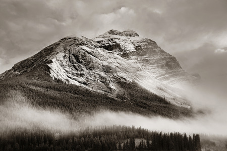 snow capped mountain: Snow capped mountain and fog at sunset in Yoho National Park in Canada Stock Photo