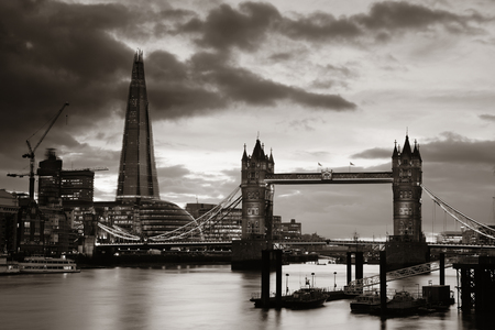 katherine: The Shard and Tower Bridge over Thames River in London.