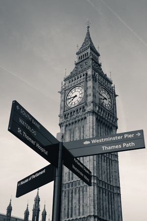 english famous: Big Ben and road sign in Westminster in London
