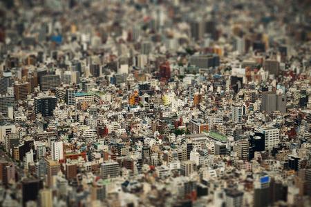 tilt shift: Tokyo urban rooftop view background tilt-shift effect, Japan.
