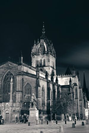 kirk: EDINBURGH, UK - OCT 8: St Giles Cathedral and street view on October 8, 2013 in Edinburgh. As the capital city of Scotland, it is the largest financial centre after London in the UK.