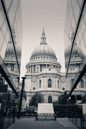 st pauls: St Pauls Cathedral and reflections in day in London Stock Photo