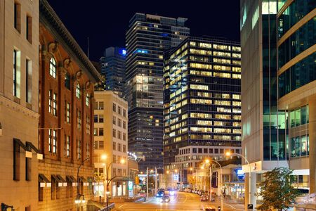ethnically diverse: VANCOUVER, BC - AUG 17: Downtown street view at night on August 17, 2015 in Vancouver, Canada. With 603k population, it is one of the most ethnically diverse cities in Canada. Editorial