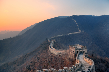 great wall: Great Wall sunset over mountains in Beijing, China.