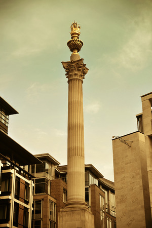 english famous: LONDON, UK - SEP 27: Paternoster Square Column in financial district on September 27, 2013 in London, UK. London is the worlds most visited city and the capital of UK.