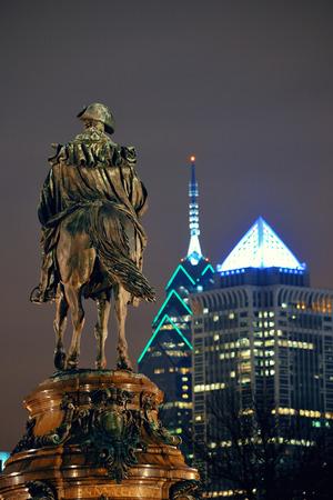 george washington: George Washington statue and Philadelphia city architecture at night