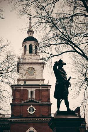 historical landmark: John Barry statue and Independence Hall as the historical Landmark in Philadelphia