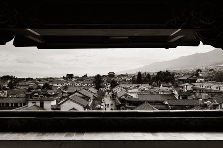old town house: Dali old town rooftop viewed from Wuhua House. Yunnan, China. Stock Photo