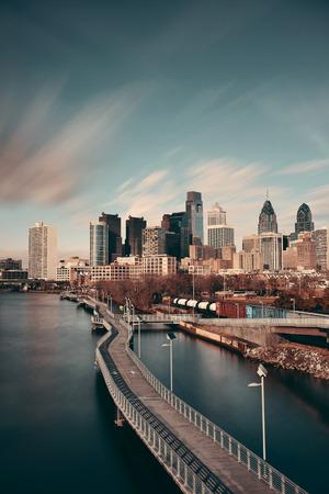 philadelphia: Philadelphia skyline with urban architecture.