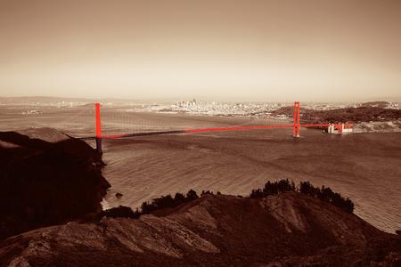 golden gate: San Francisco Golden Gate Bridge viewed from mountain top Stock Photo