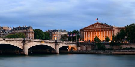 concorde: Paris River Seine panorama with Pont de la Concorde and Assemblee Nationale