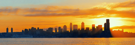 office buildings: Seattle sunrise skyline silhouette view with urban office buildings. Stock Photo