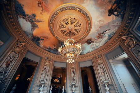 palais garnier: PARIS, FRANCE - MAY 13: Palais Garnier delicate ceiling view on May 13, 2015 in Paris. With the population of 2M, Paris is the capital and most-populous city of France Editorial