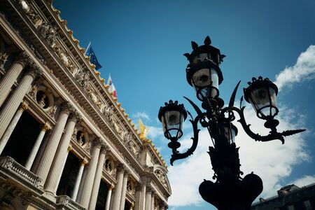 palais garnier: Palais Garnier with vintage lamp viewed from street in Paris.