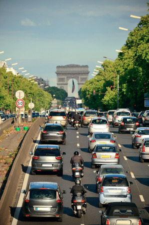 traffic building: PARIS, FRANCE - MAY 13: Busy traffic on highway on May 13, 2015 in Paris. With the population of 2M, Paris is the capital and most-populous city of France Editorial