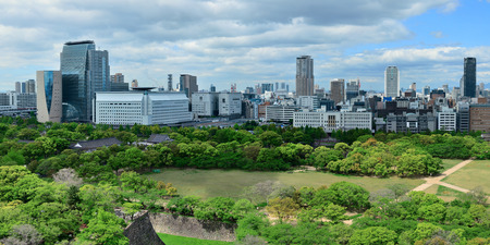 Osaka urban city park rooftop view. Japan.
